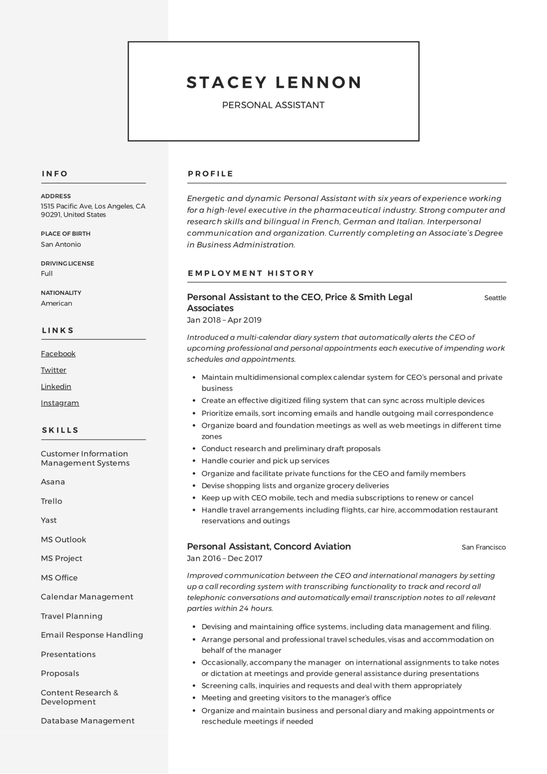 personal assistant resume writing guide templates pdf responsibilities phone icon for Resume Personal Assistant Responsibilities Resume