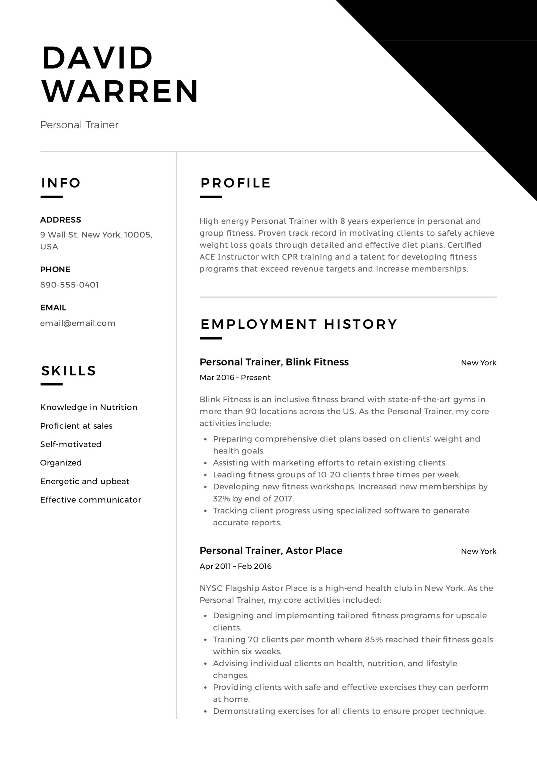 personal trainer resume event planner professional examples example scheduling Resume Personal Trainer Resume Example
