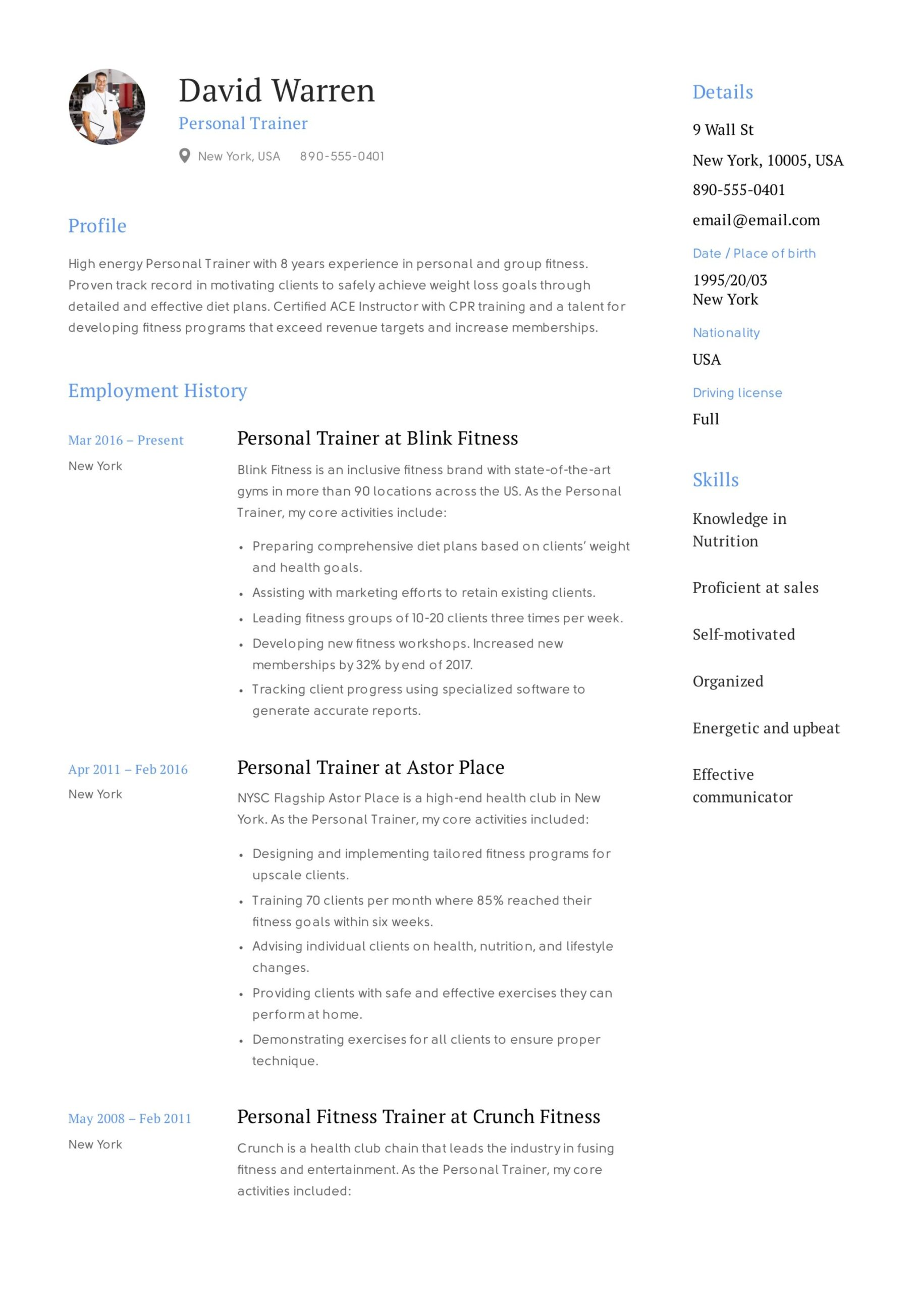 personal trainer resume guide examples pdf example pharmacist job description for react Resume Personal Trainer Resume Example