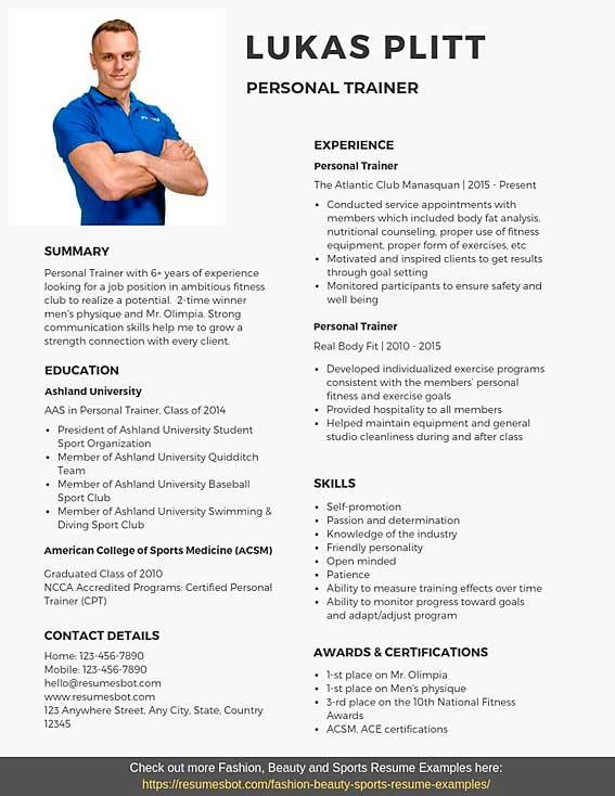 personal trainer resume samples templates pdf word resumes bot example llb fresher for Resume Personal Trainer Resume Example