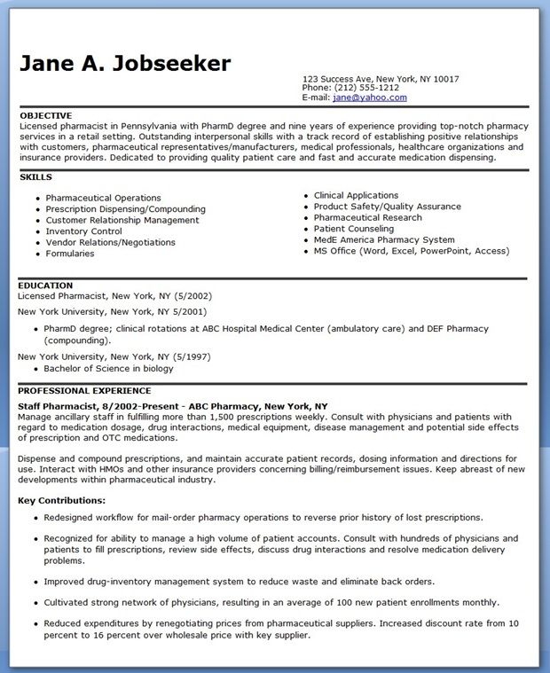 pharmacist resume sample downloads job examples design template creative clinical Resume Clinical Pharmacist Resume Objective
