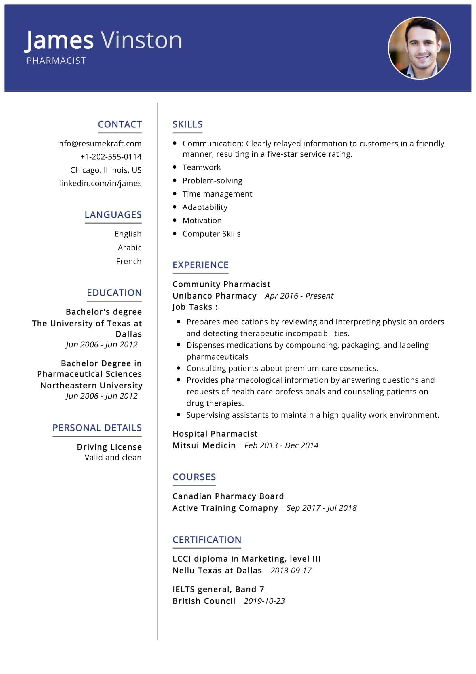 pharmacist resume sample writing tips resumekraft bachelor degree example first time Resume Resume Bachelor Degree Example