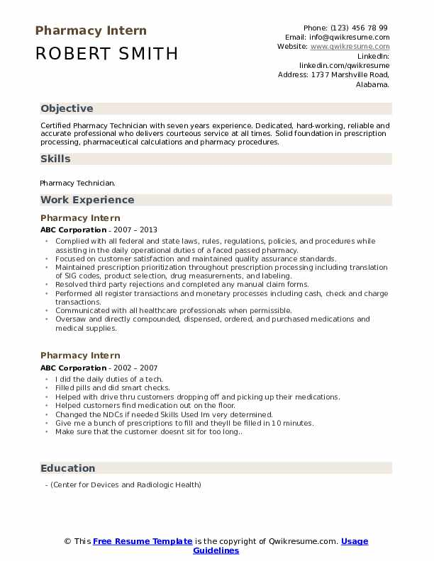 pharmacy intern resume samples qwikresume technician internship pdf aux now great skills Resume Pharmacy Technician Internship Resume