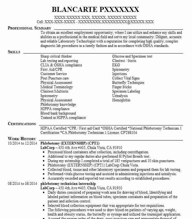 phlebotomy internship resume example advocate christ hospital oak lawn retail examples Resume Phlebotomy Internship Resume