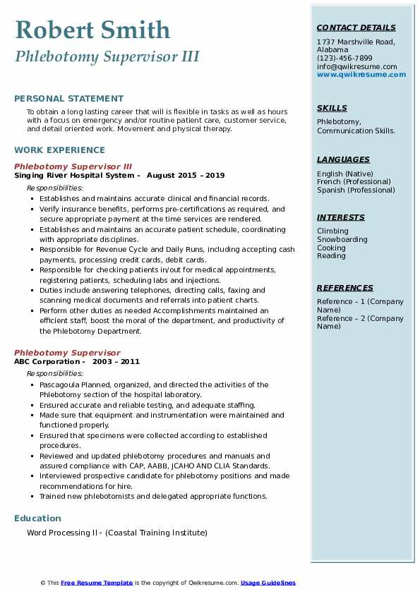 phlebotomy supervisor resume samples qwikresume pdf retail objective statement summary Resume Phlebotomy Supervisor Resume