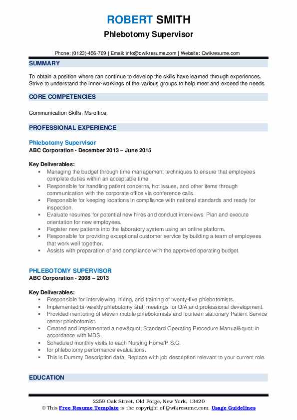 phlebotomy supervisor resume samples qwikresume pdf rewrite perl csa entry level legal Resume Phlebotomy Supervisor Resume