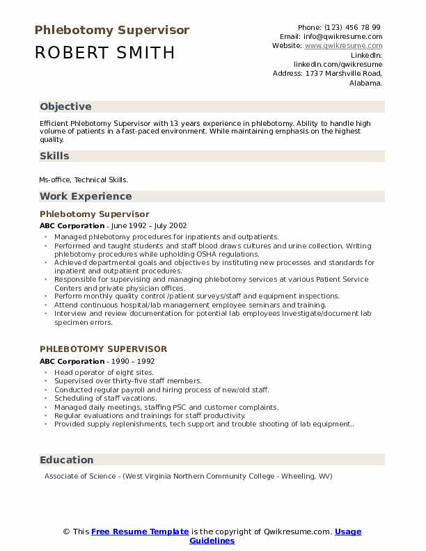 phlebotomy supervisor resume samples qwikresume pdf ziprecruiter groovy grails rewrite Resume Phlebotomy Supervisor Resume