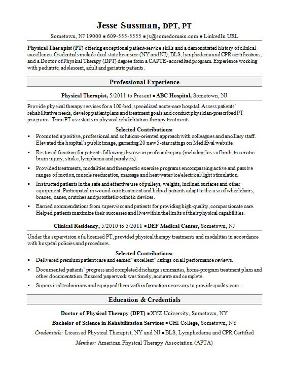 physical therapist resume sample monster therapy examples icu nurse special education Resume Physical Therapy Resume Examples