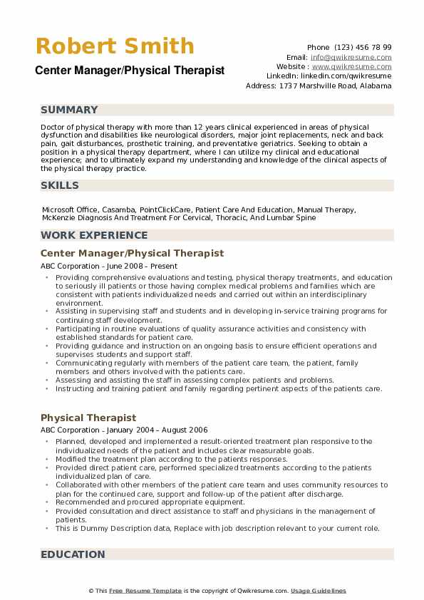 physical therapist resume samples qwikresume therapy examples pdf currently pursuing Resume Physical Therapy Resume Examples