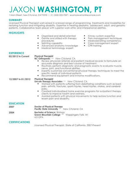 physical therapist resume template for microsoft word livecareer therapy examples Resume Physical Therapy Resume Examples