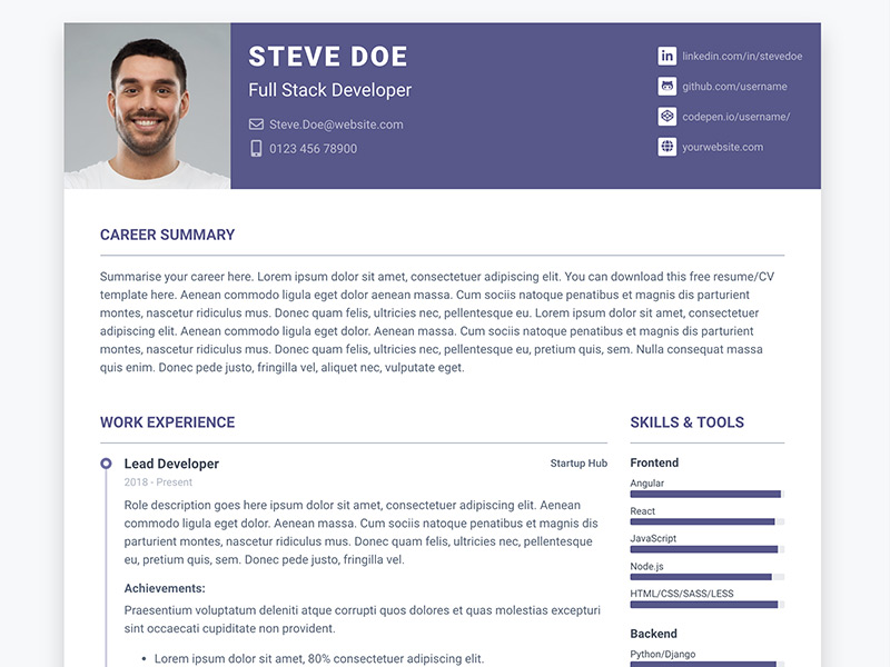 pillar free bootstrap resume cv template for developers ux angular theme house cleaning Resume Angular Resume Template