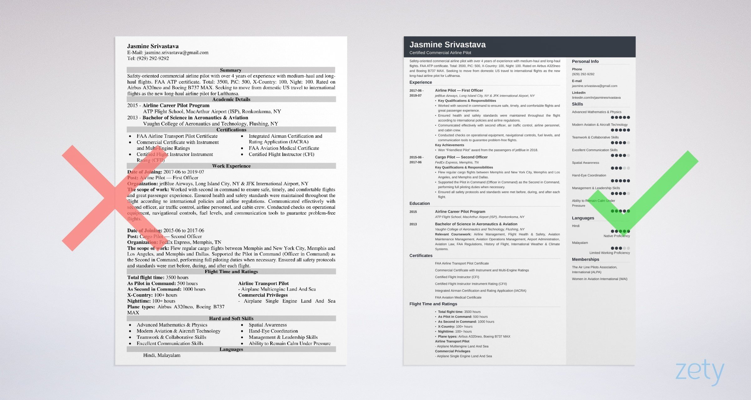 pilot resume template examples for aviation professionals best format example government Resume Best Resume Format For Aviation