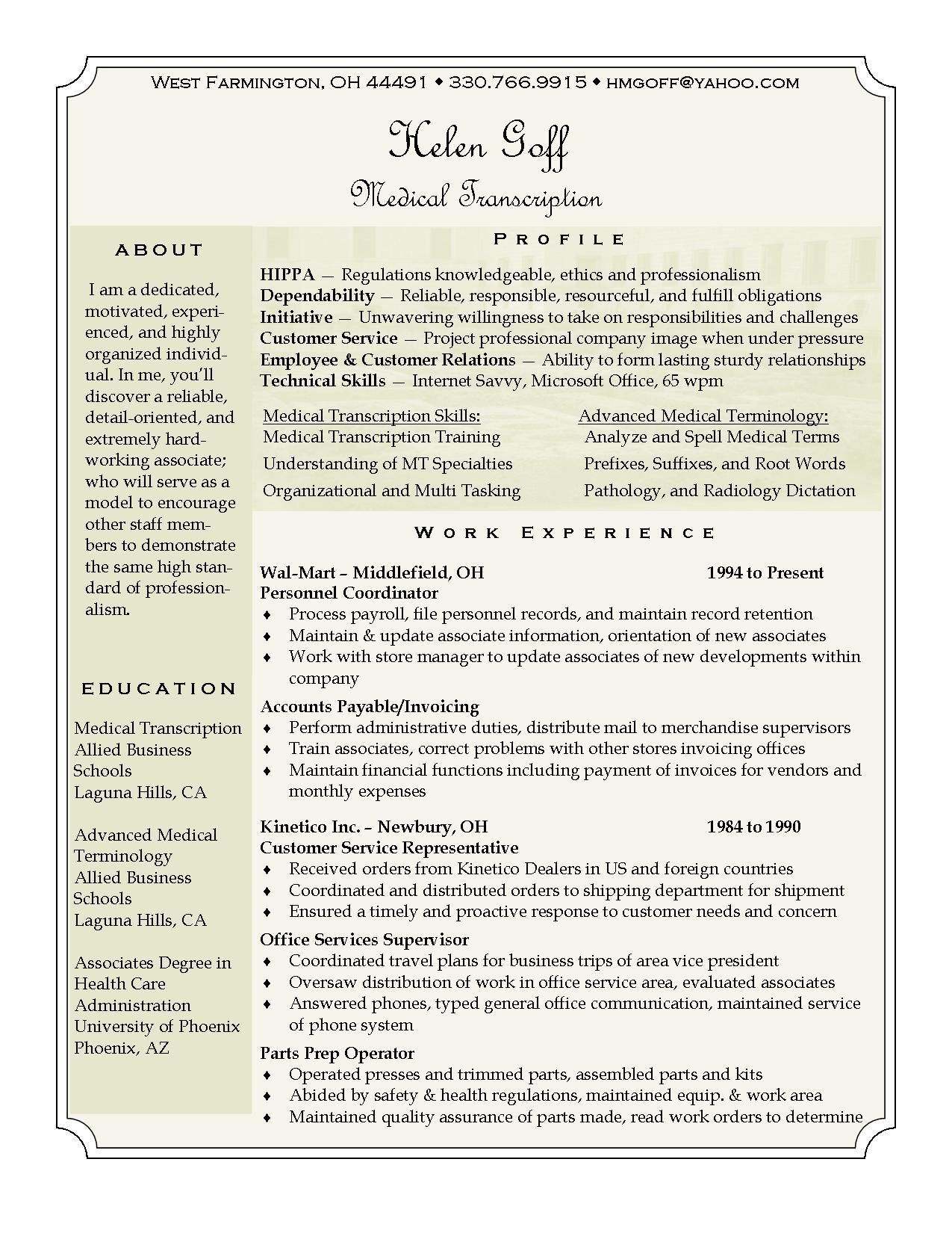 pin by brenda grizzle on medical transcriptionist products information can use Resume Medical Transcriptionist Resume