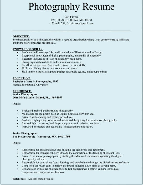pin by carl on resume free template word photographer photography objective examples Resume Photography Resume Objective Examples