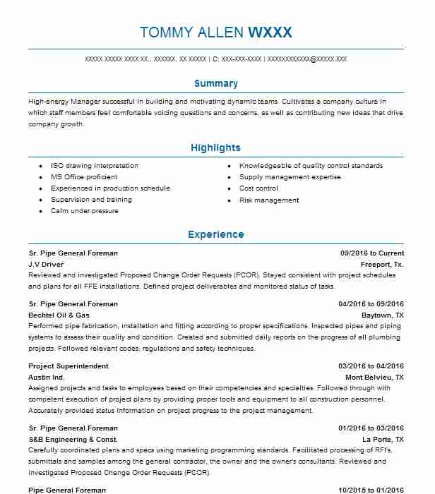 pipe general foreman resume example sundt construction summary courses for office Resume Construction Foreman Resume Summary