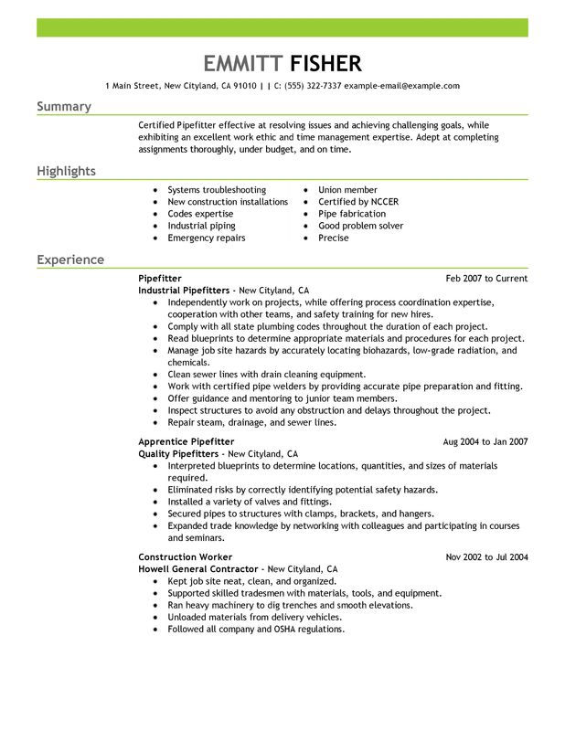 pipefitter resume examples created by pros myperfectresume pipeline laborer sample Resume Pipeline Laborer Resume Sample