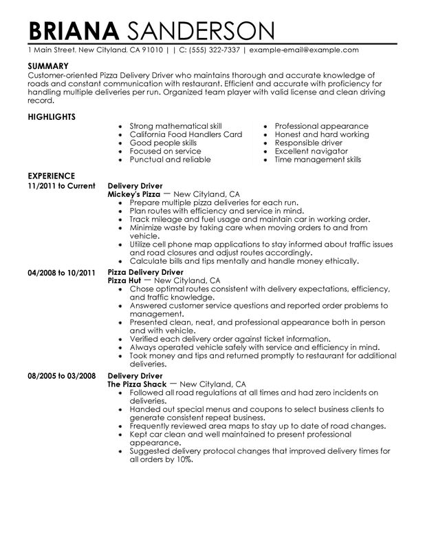 pizza delivery drivers resume examples created by pros myperfectresume route driver Resume Route Delivery Driver Resume Sample