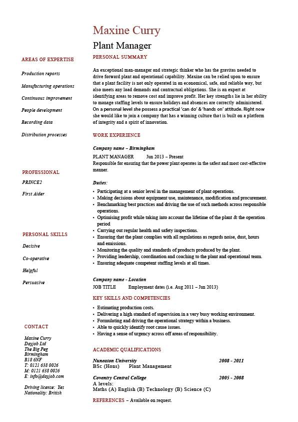 plant manager resume production job description cv example sample workshops career Resume Plant Operations Manager Resume
