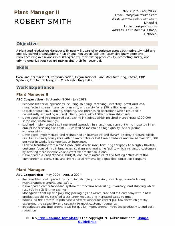 plant manager resume samples qwikresume operations pdf maintenance examples name header Resume Plant Operations Manager Resume