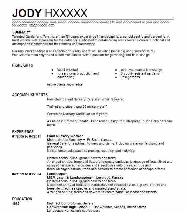 plant nursery worker resume example resumes livecareer objective for listing language Resume Resume Objective For Plant Worker