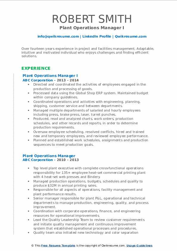 plant operations manager resume samples qwikresume pdf templetes free director level psw Resume Plant Operations Manager Resume