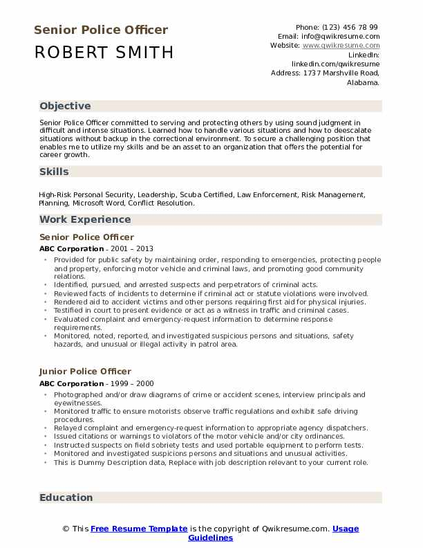 police officer resume samples qwikresume law enforcement pdf federal writing services for Resume Law Enforcement Police Officer Resume