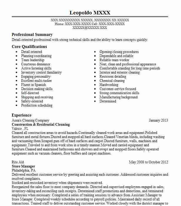 post construction cleaning resume example michael commercial cleaner trending format new Resume Construction Cleaner Resume
