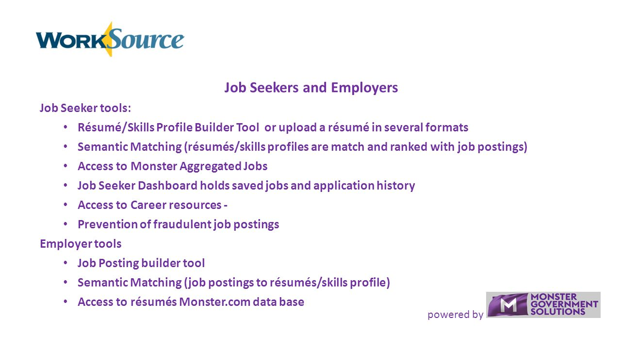 powered by an overview of the worksource integrated technology solution for wec resume Resume Worksource Resume Builder