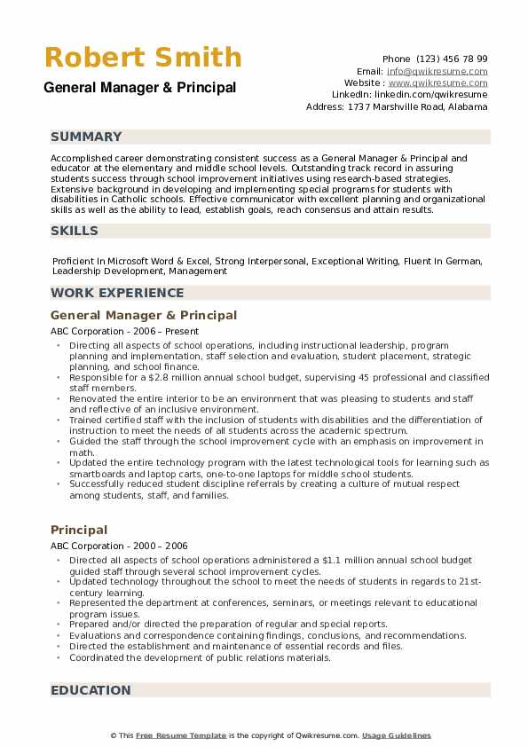 principal resume samples qwikresume sample for school position pdf accounting assistant Resume Sample Resume For School Principal Position