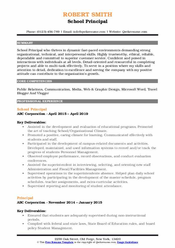 principal resume samples qwikresume sample for school position pdf putting college on Resume Sample Resume For School Principal Position