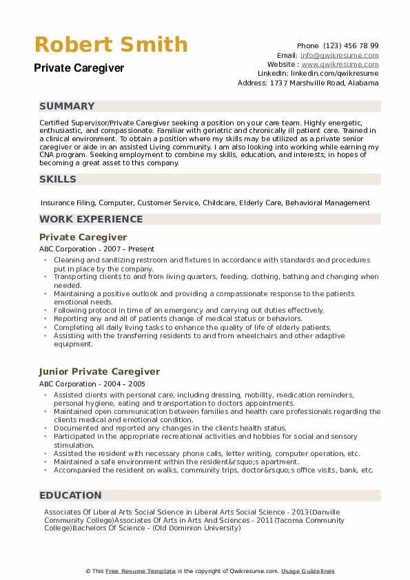 private caregiver resume samples qwikresume for home pdf best writing service email of Resume Resume For Home Caregiver