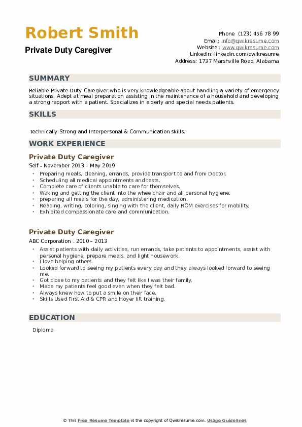 private duty caregiver resume samples qwikresume pdf sample for executive director Resume Private Duty Caregiver Resume