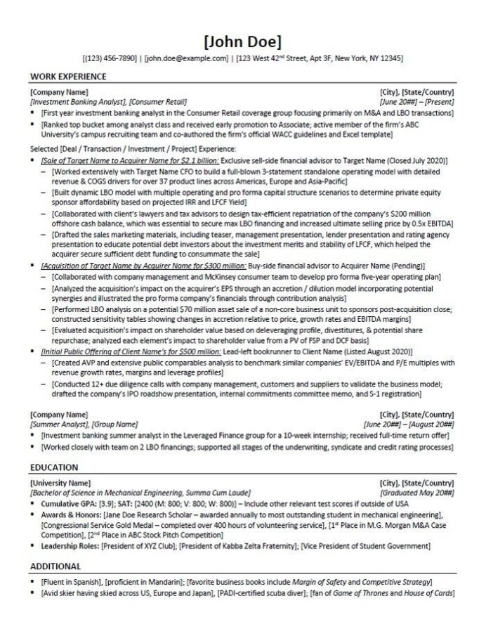 private equity resume template and example 10x ebitda investment banking table of Resume Investment Banking Resume Template