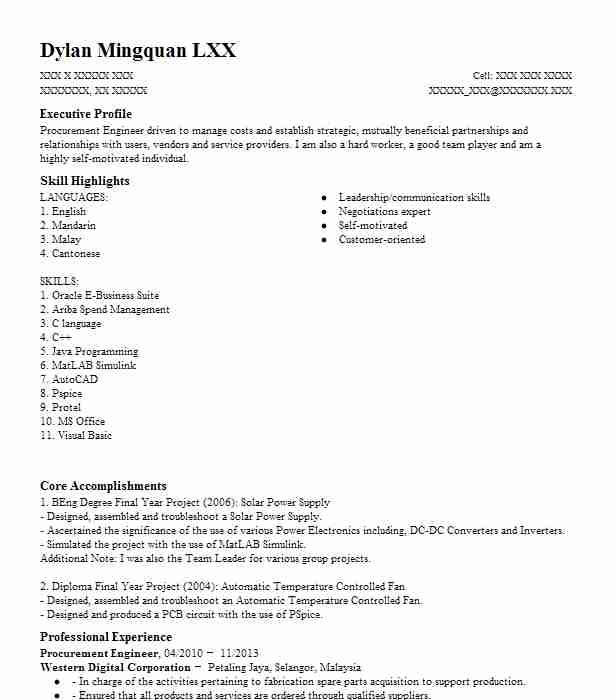 procurement engineer resume example engineering resumes livecareer objective angular Resume Procurement Resume Objective