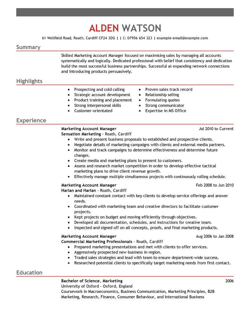 professional account manager resume examples marketing livecareer keywords emphasis for Resume Account Manager Resume Keywords