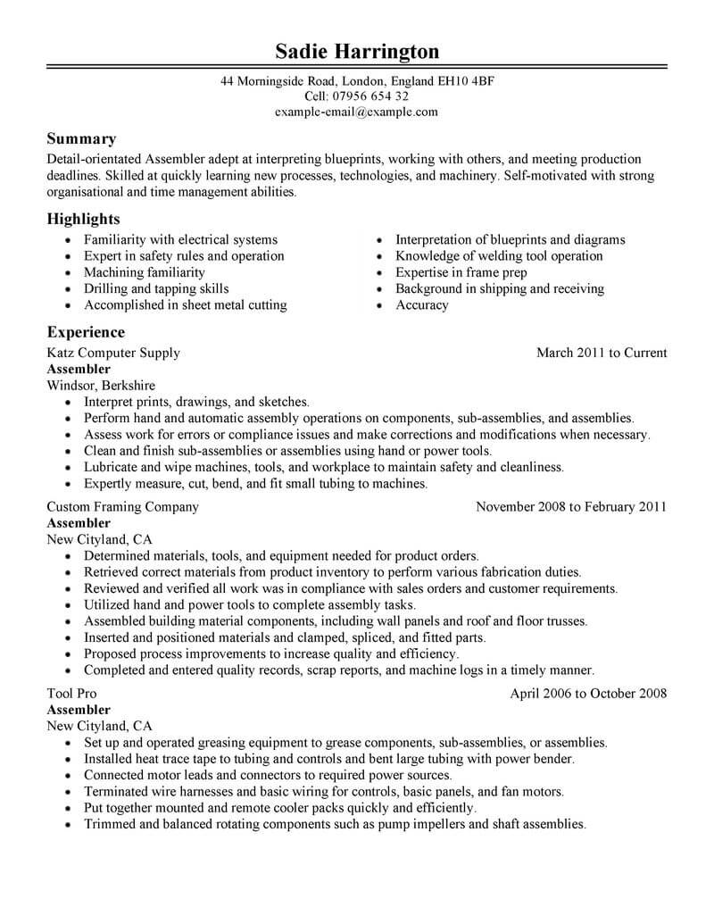 professional assembler resume examples production livecareer objective for manufacturing Resume Resume Objective For Manufacturing Position