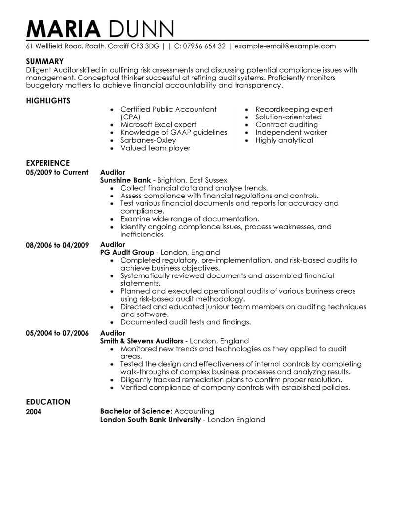 professional auditor resume examples accounting livecareer medical sample finance Resume Medical Auditor Resume Sample