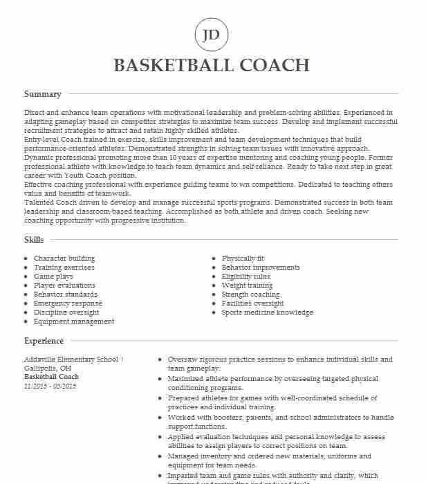 professional basketball coach resume examples sports livecareer head sample strategy bms Resume Head Basketball Coach Resume