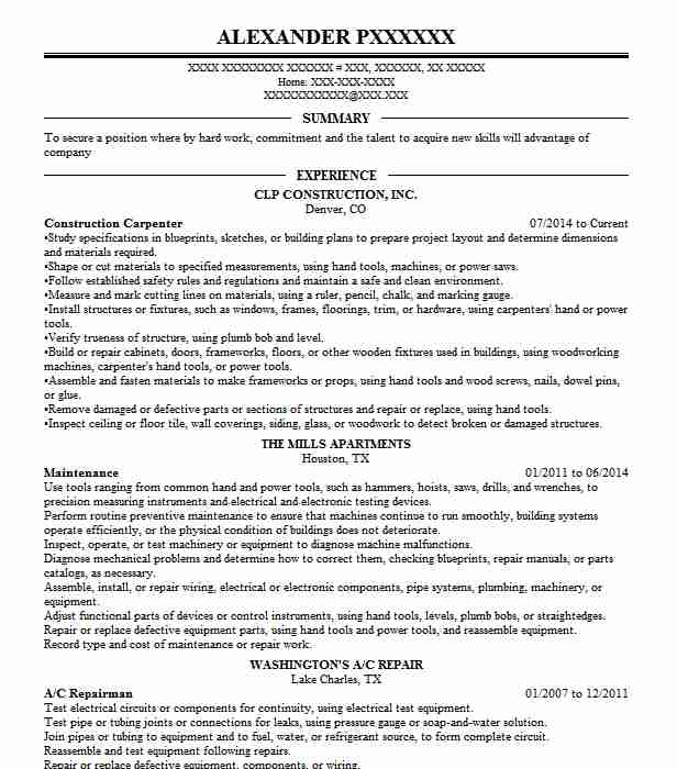 professional carpenter resume examples construction livecareer household assistant Resume Carpenter Resume Examples