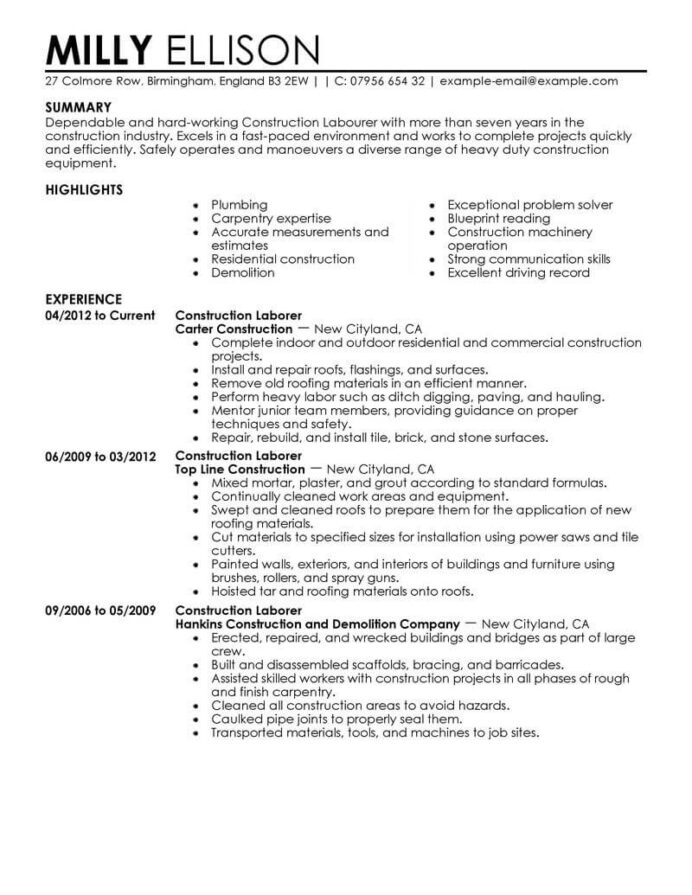 professional construction worker resume examples livecareer good labor contemporary en Resume Good Construction Resume