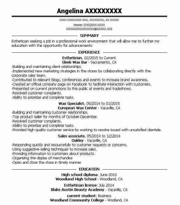 professional esthetician resume examples cosmetology livecareer medical beginner Resume Medical Esthetician Resume Examples