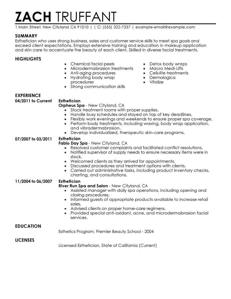 professional esthetician resume examples cosmetology livecareer medical salon spa fitness Resume Medical Esthetician Resume Examples