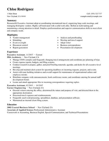 professional executive assistant resume examples administrative livecareer personal job Resume Personal Assistant Job Duties For Resume