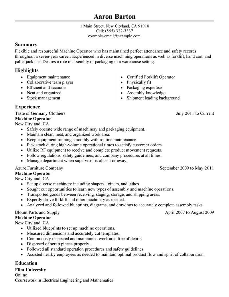 professional machine operator resume examples production livecareer objective for Resume Resume Objective For Manufacturing Position