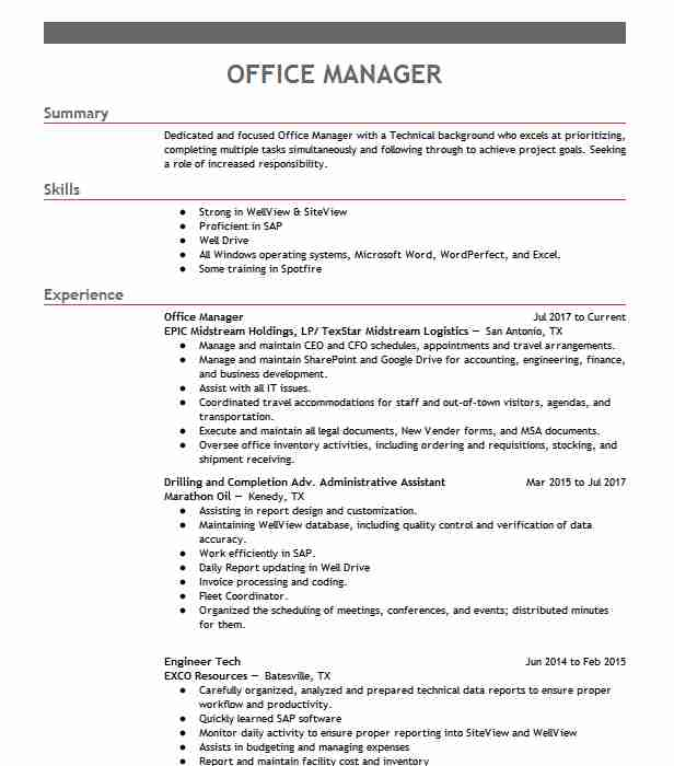 professional office manager resume examples administrative livecareer description for Resume Office Manager Description For Resume