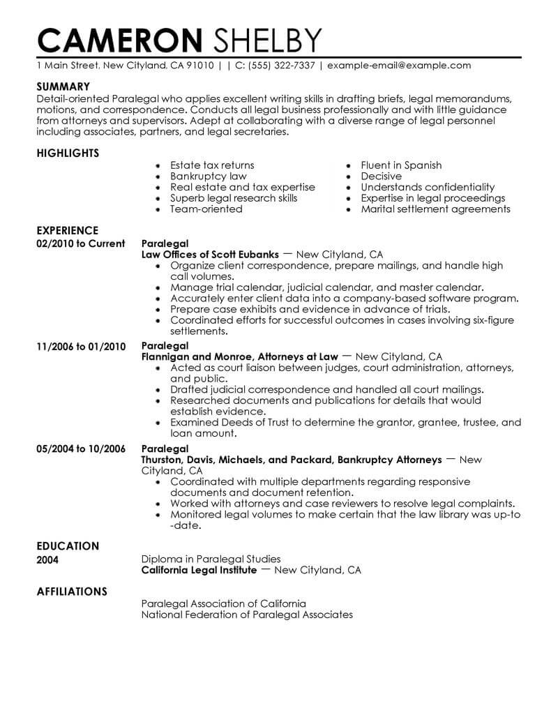 professional paralegal resume examples law livecareer good experience legal contemporary Resume Good Resume Experience Examples