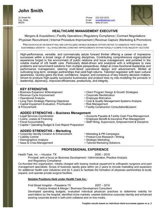 professional resume template for health care management executive want it downloa Resume Healthcare Executive Resume