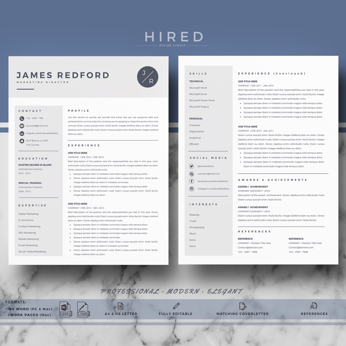 professional resume template for mac and word on behance military recruiter paper size Resume Resume Template Word Mac