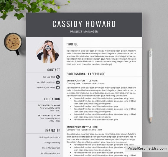 professional resume template for ms word creative cv etsy modern il 570xn l0a9 Resume Modern Resume Template 2020