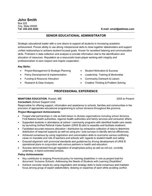 professional resume template for senior educational administrator want it now samples Resume Job Resume Education Examples